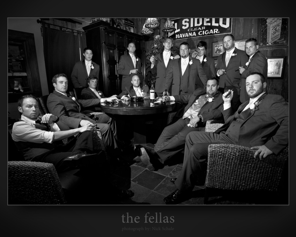 the fellas is a photograph taken at Fidel's Cigar Shop in Kansas City, MO 64111. The groom heard about a photo I was part of in a previous wedding and wanted to take aspects from that and add to it by putting the setting in the cigar shop. Major thank you to Scott at Fidel's for being so extremely kind.