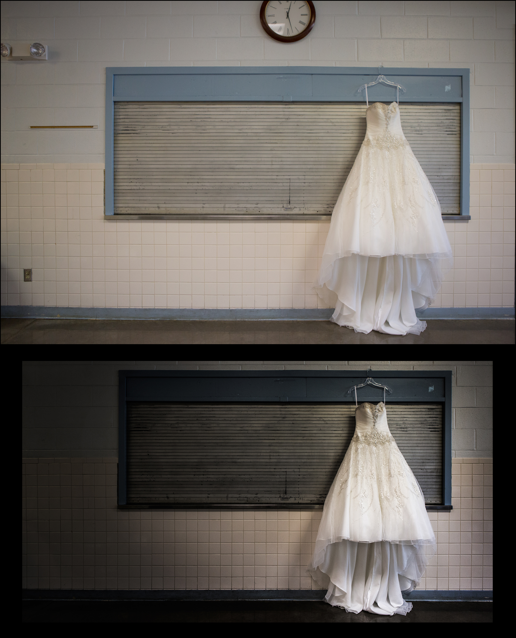 Wedding dress shot in Leavenworth, ks post production from a raw photo to a mastered shot.
